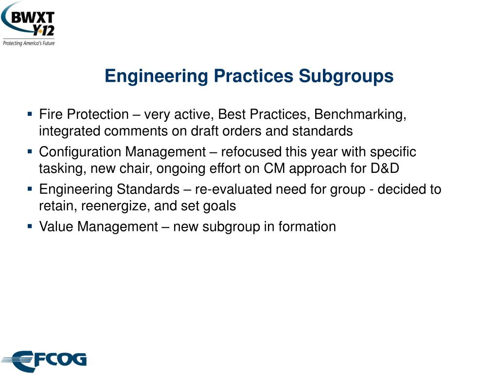 Engineering Practices Subgroups