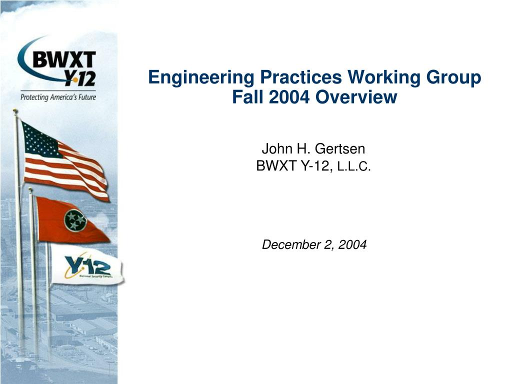 engineering practices working group fall 2004 overview l.