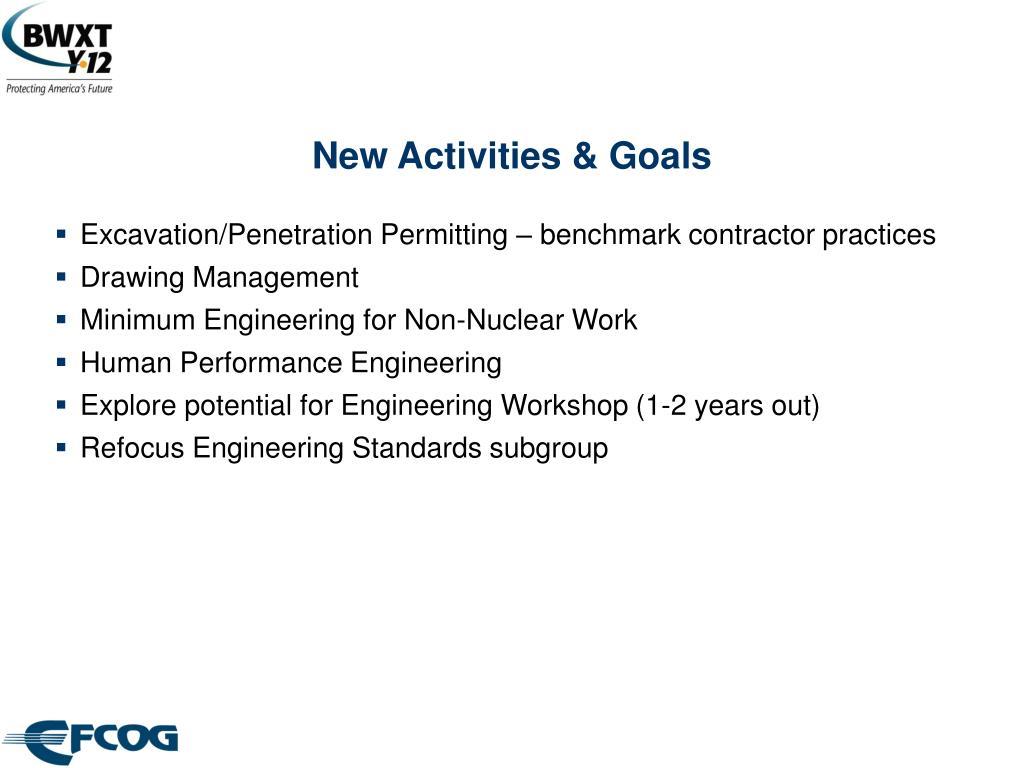 New Activities & Goals