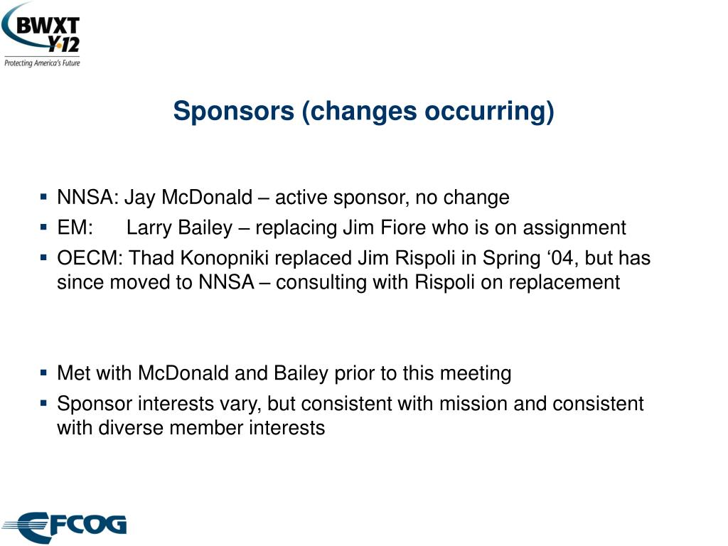 Sponsors (changes occurring)
