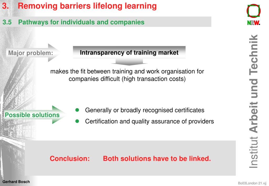 3.	Removing barriers lifelong learning