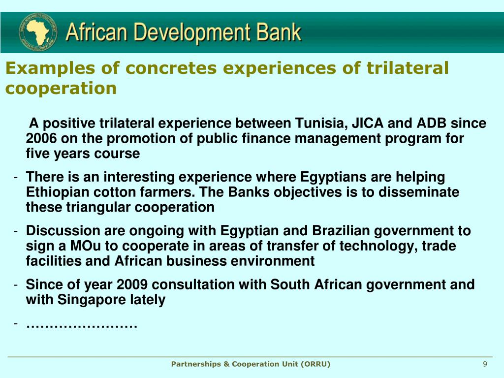 Examples of concretes experiences of trilateral cooperation