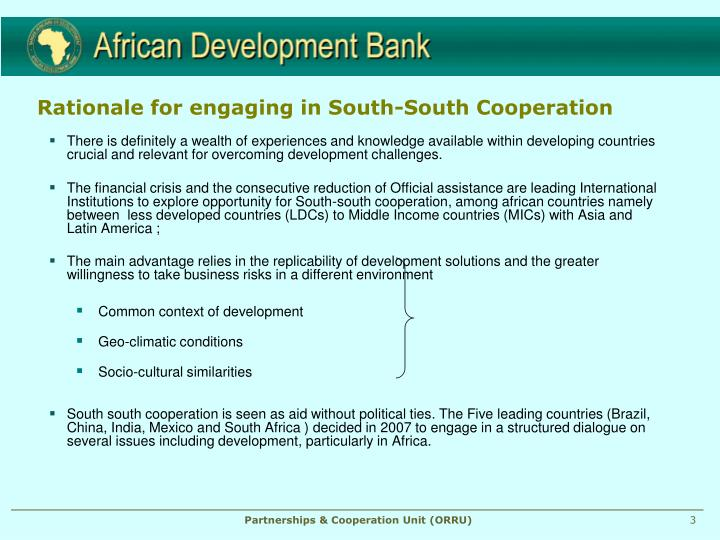 Rationale for engaging in south south cooperation
