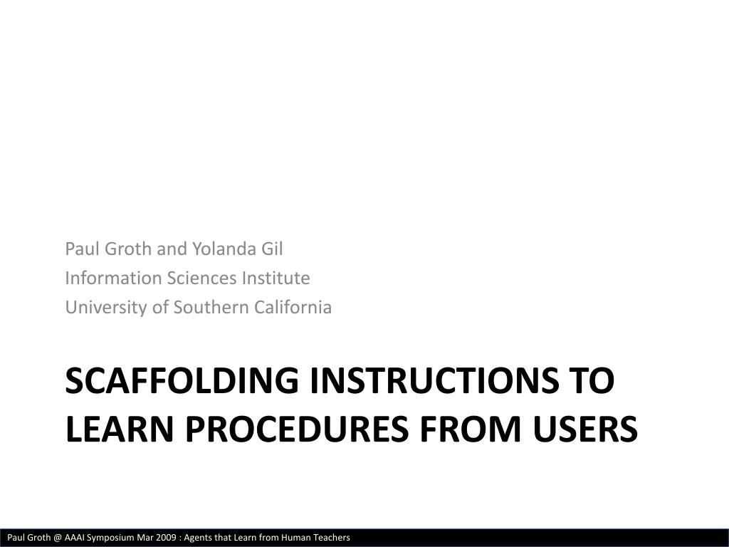 scaffolding instructions to learn procedures from users l.