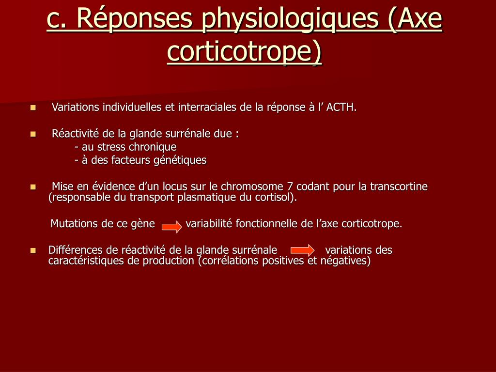 c. Réponses physiologiques (Axe corticotrope)