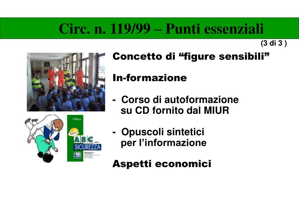 Circ. n. 119/99 – Punti essenziali