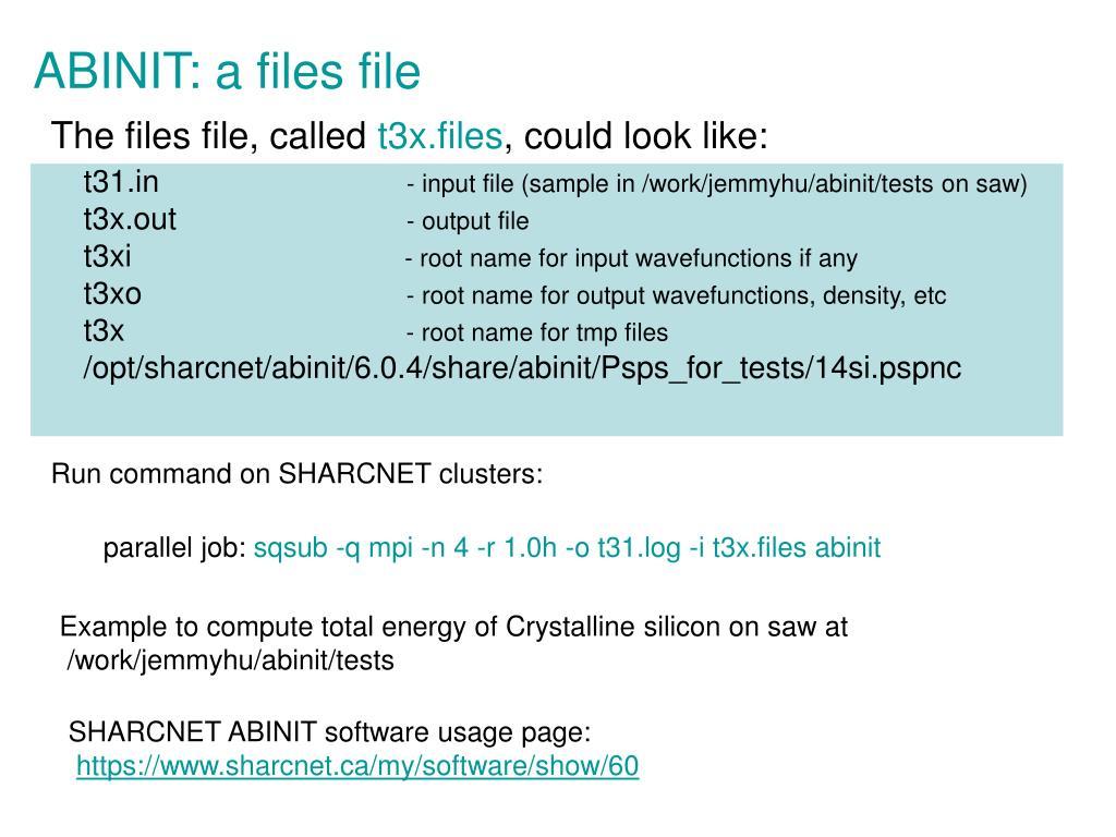 ABINIT: a files file
