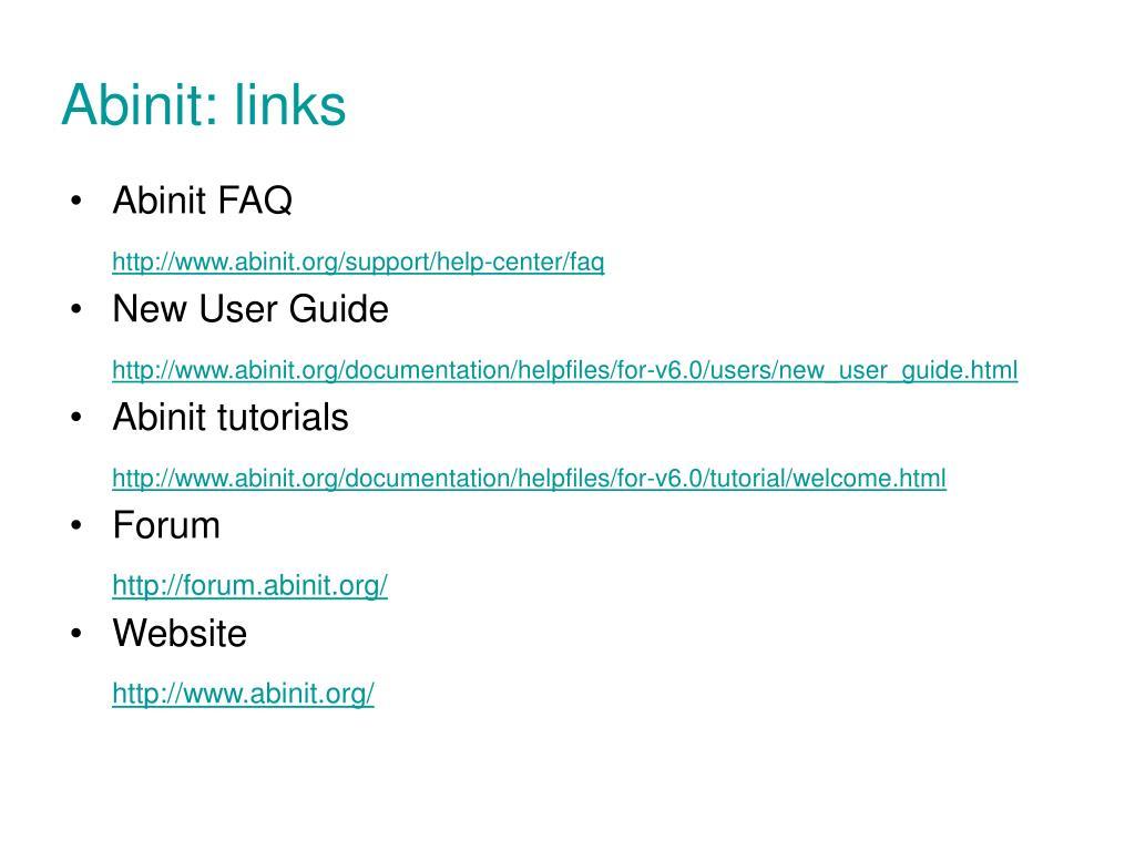 Abinit: links