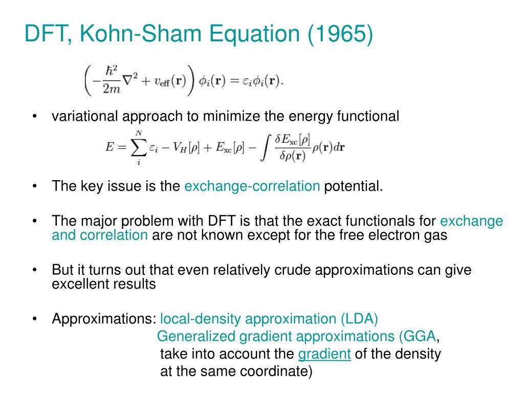 DFT, Kohn-Sham Equation (1965)