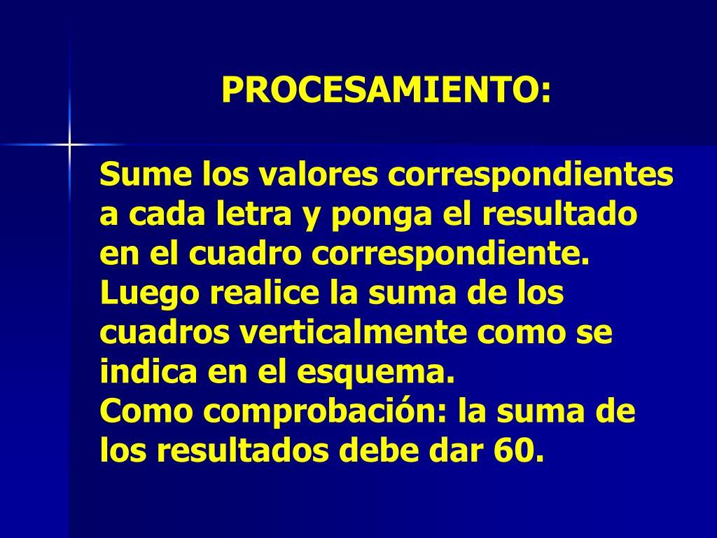 PROCESAMIENTO:
