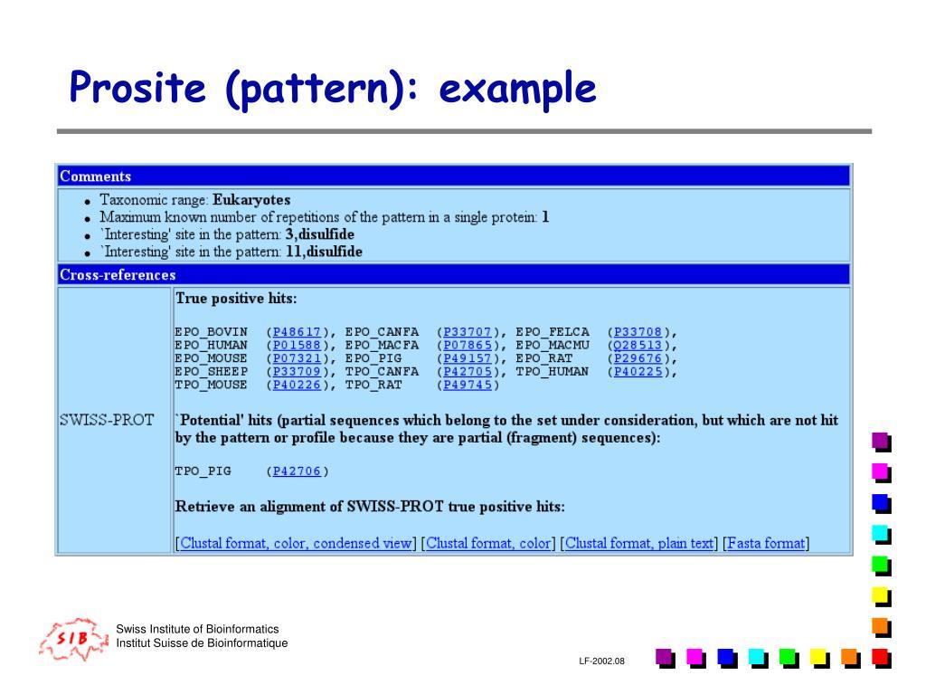Prosite (pattern): example