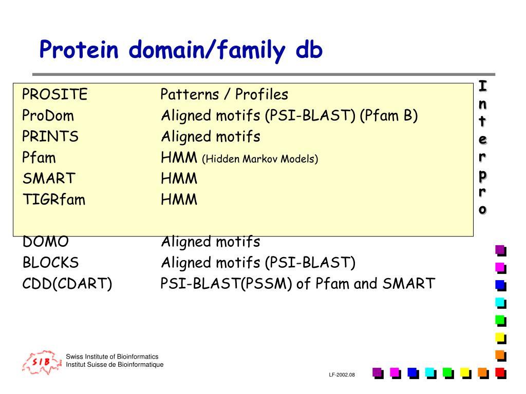 Protein domain/family db