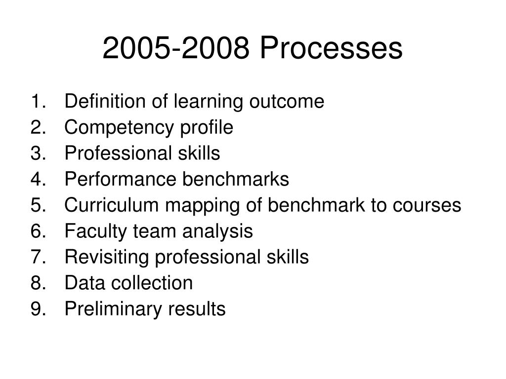 2005-2008 Processes