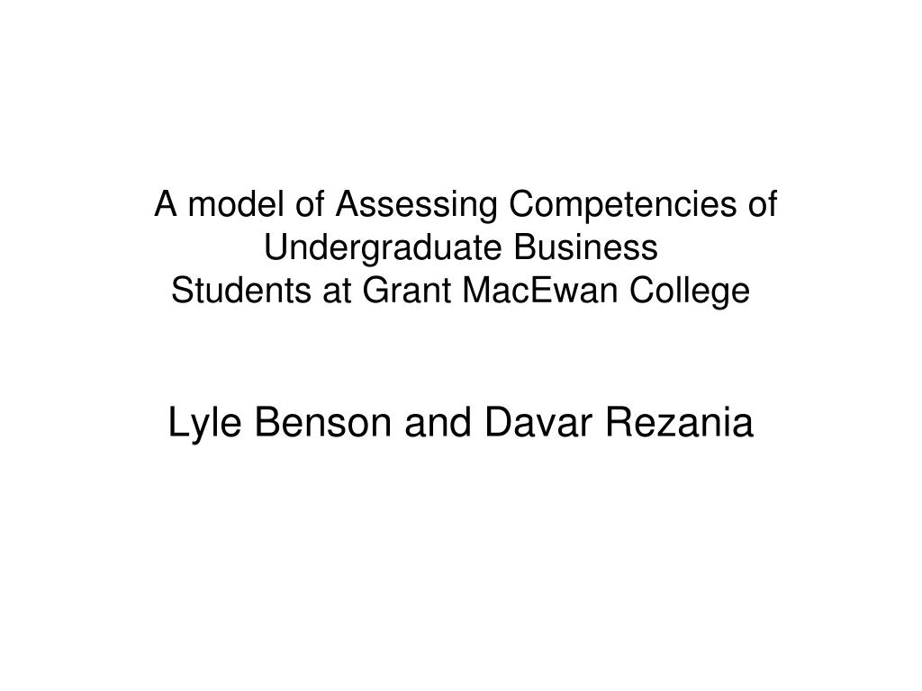 A model of Assessing Competencies of Undergraduate Business