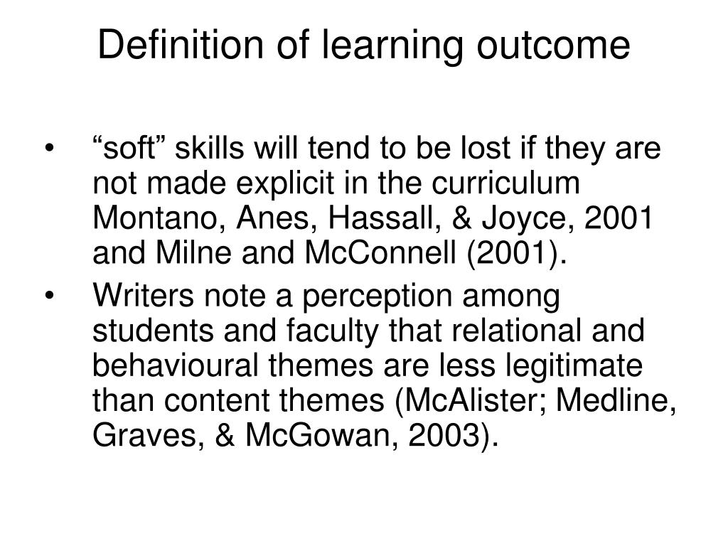 Definition of learning outcome