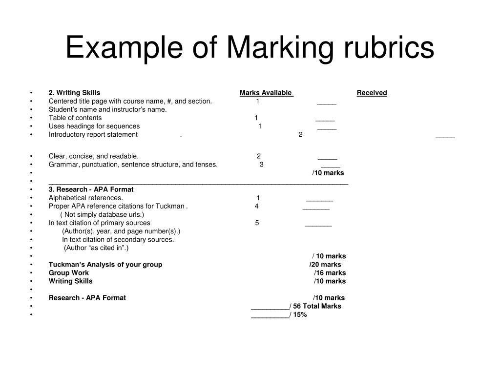 Example of Marking rubrics