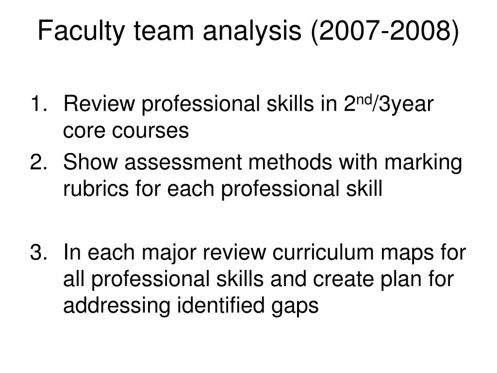 Faculty team analysis (2007-2008)