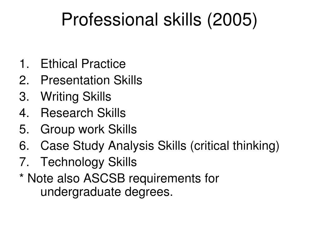 Professional skills (2005)