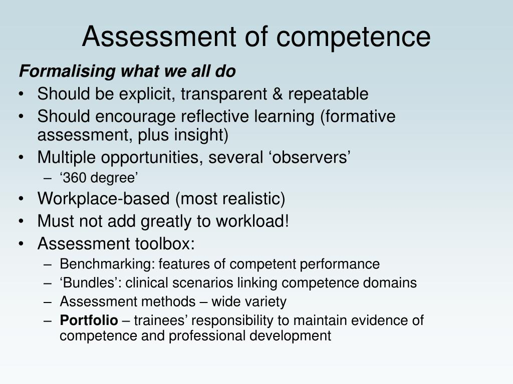 Assessment of competence