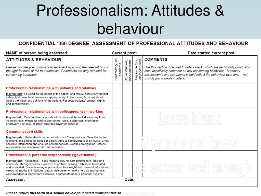 Professionalism: Attitudes & behaviour
