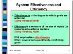 system effectiveness and efficiency