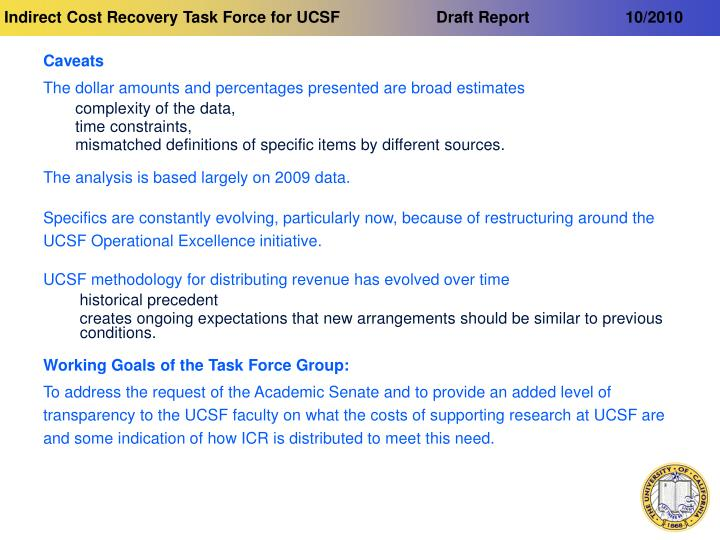Indirect cost recovery task force for ucsf draft report 10 20103