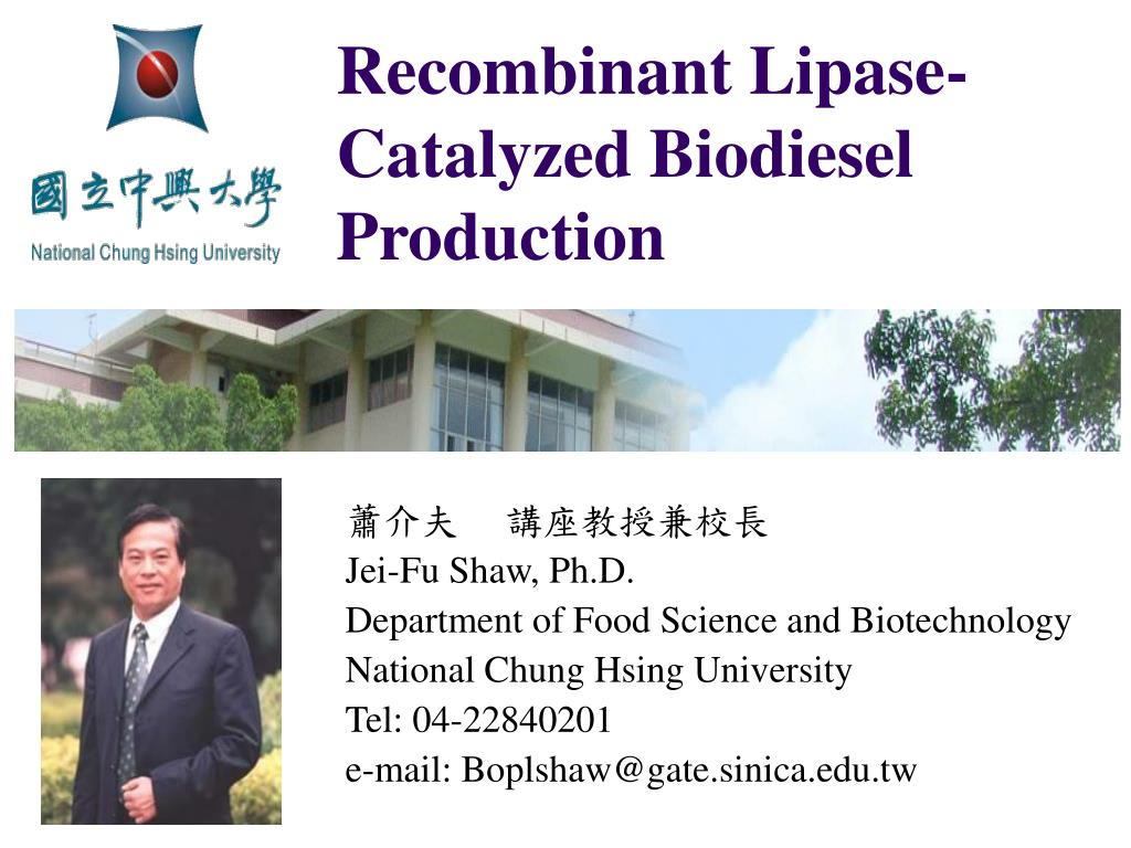 recombinant lipase catalyzed biodiesel production l.