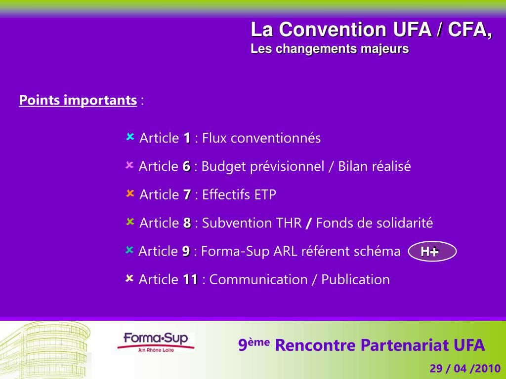 La Convention UFA / CFA,