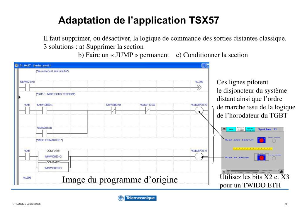 Adaptation de l'application TSX57