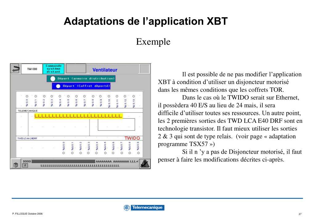 Adaptations de l'application XBT