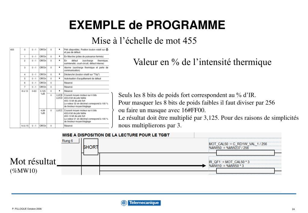 EXEMPLE de PROGRAMME