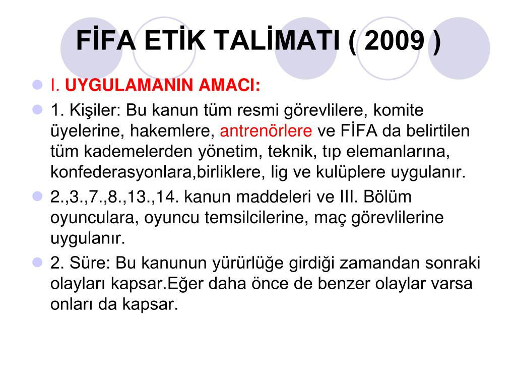 FİFA ETİK TALİMATI ( 2009 )