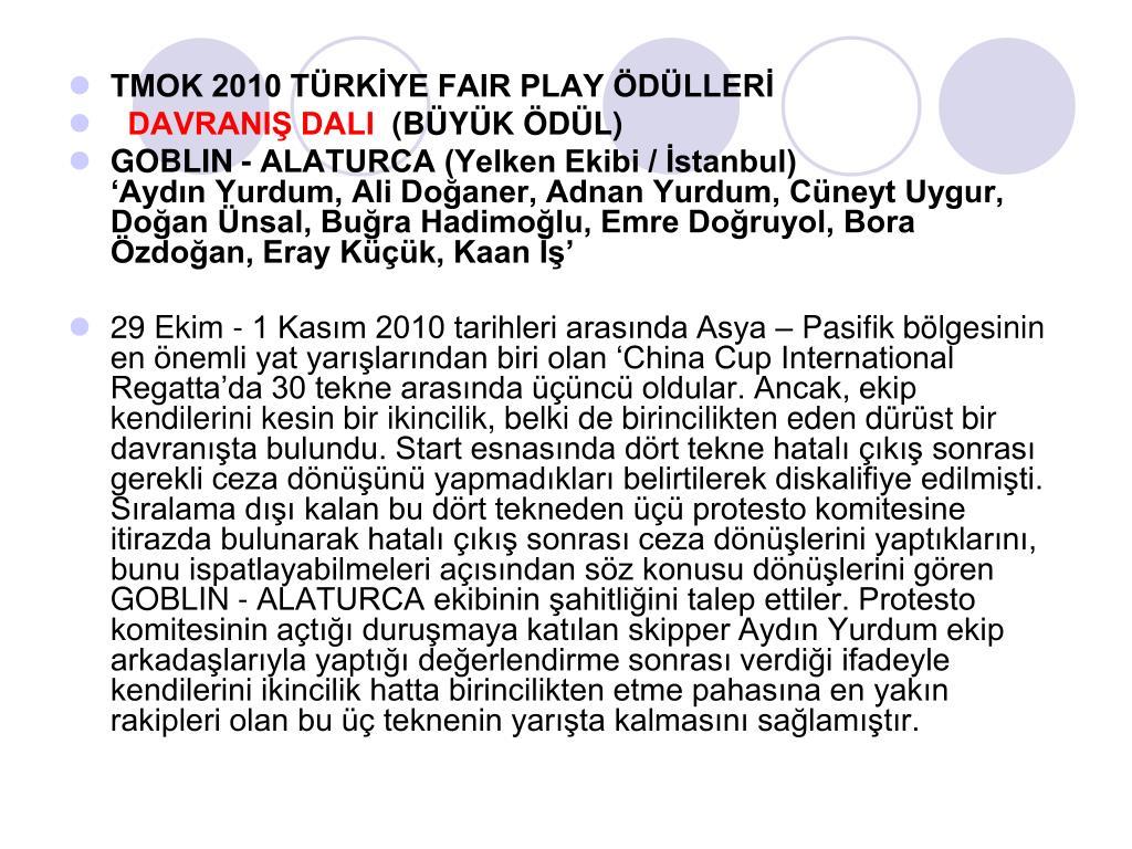 TMOK 2010 TÜRKİYE FAIR PLAY ÖDÜLLERİ