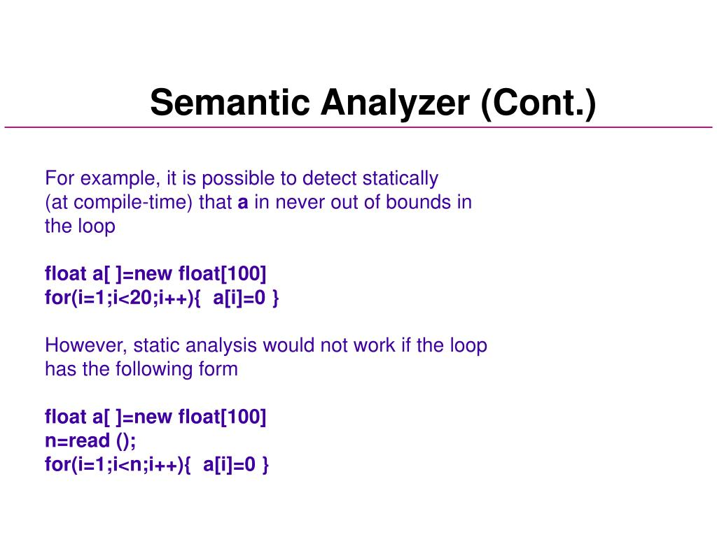 Semantic Analyzer (Cont.)