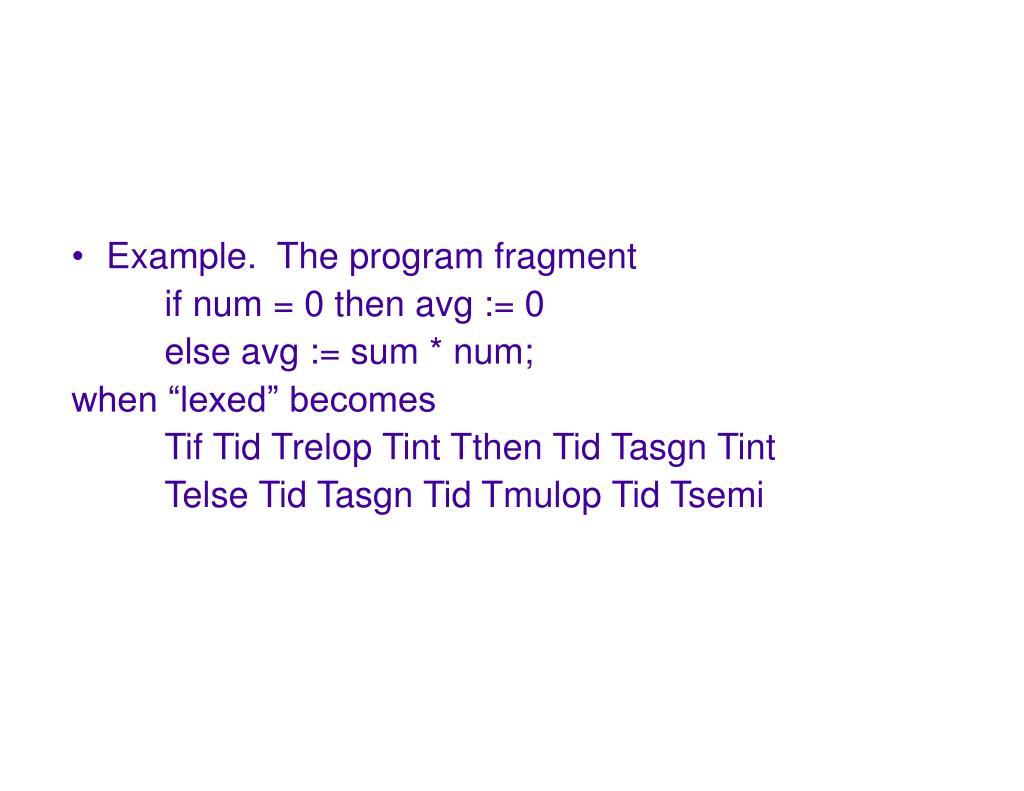 Example.  The program fragment