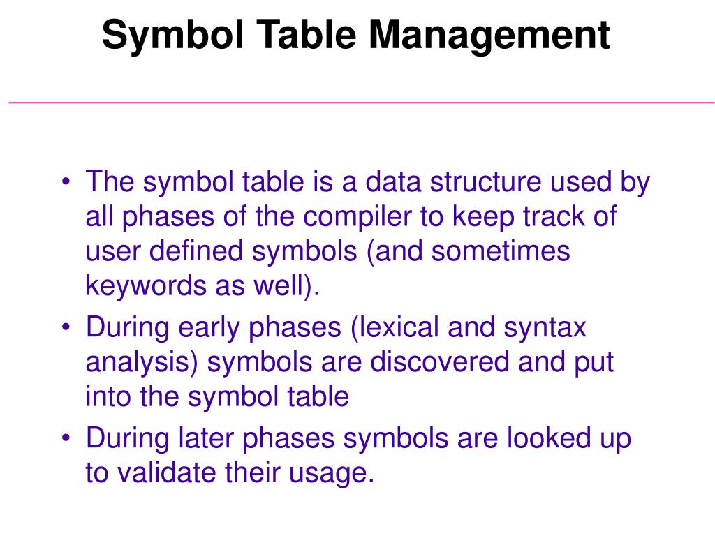 Symbol Table Management