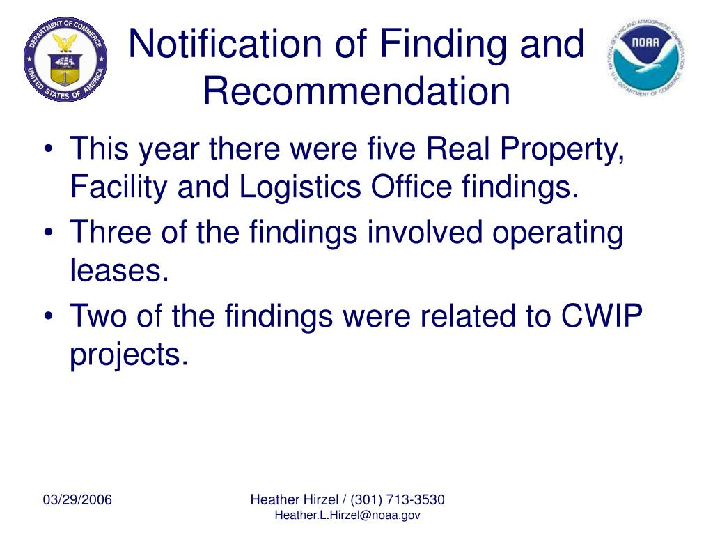 Notification of Finding and Recommendation