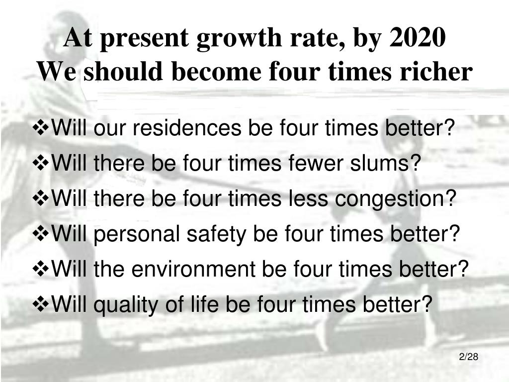 At present growth rate, by 2020