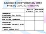 likelihood and preferability of the primary care 2025 scenarios