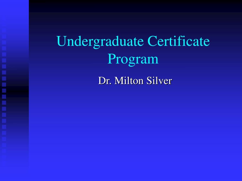 undergraduate certificate program l.