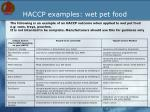 haccp examples wet pet food