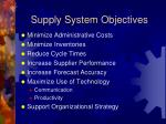supply system objectives