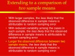 extending to a comparison of two sample means10