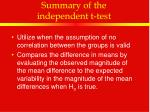 summary of the independent t test