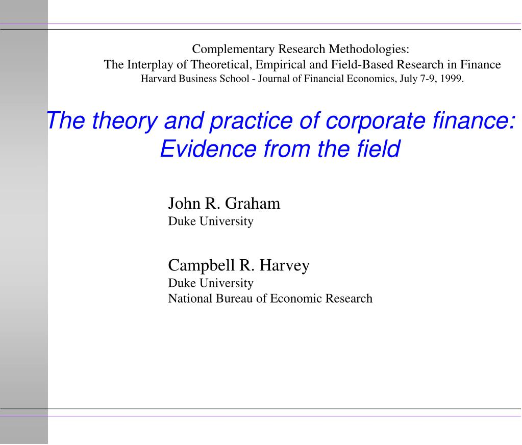 the theory and practice of corporate finance evidence from the field l.