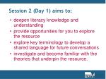 session 2 day 1 aims to