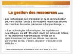 la gestion des ressources suite54