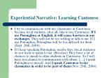 experiential narrative learning cantonese