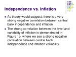 independence vs inflation