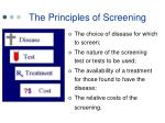 the principles of screening